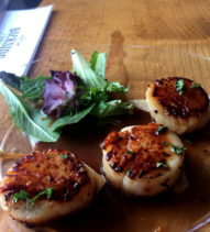 An order of scallops from Backside Grill