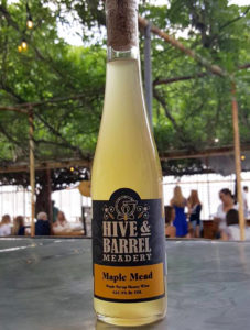 A bottle of mead from Hive & Barrel Meadery