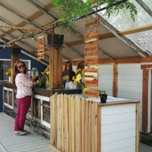 A woman enjoying the outside bar at Hive and Barrel Meadery