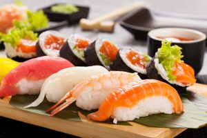 Delicious looking selection of sushi