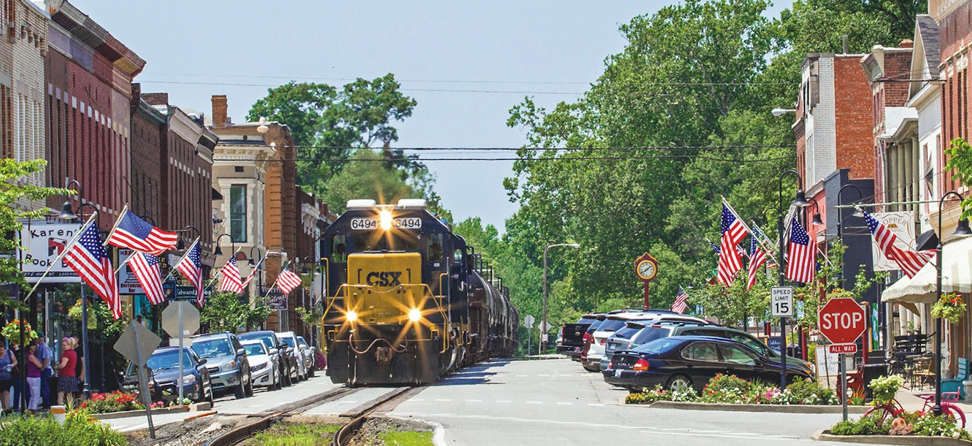 Train in Downtown La Grange, Kentucky